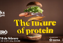 The Future Of Protein - hamburguesa con ingredientes flotando